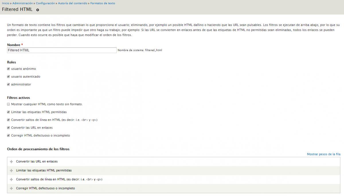 Formatos de texto y editores WYSIWYG con Drupal 7 | Tutorial Drupal